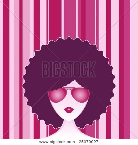 Funky afro girl wearing a pair of aviator sunglasses.