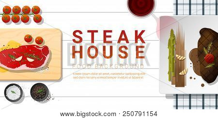 Raw Fresh Meat And Grilled Meat Strip Loin Steak On White Table , Healthy Food Background , Vector ,