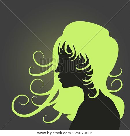 Funky girl hairstyle silhouette. poster