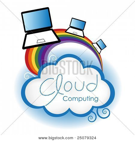 """Cloud computing concept. Laptop computers surfing on the rainbow connected to the """"cloud""""."""