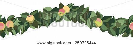 Apple And Leaf Chain Border As Seamless Pattern