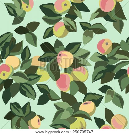 Clusters Of Apples And Leaves In Seamless Pattern