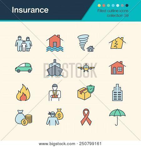 Insurance Icons. Filled Outline Design Collection 39. For Presentation, Graphic Design, Mobile Appli