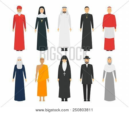 Cartoon Characters Religion People Different Types Set Traditional Clothing Concept Element Flat Des