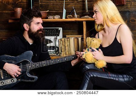Couple In Love On Relaxed Faces Enjoy Romantic Atmosphere. Romantic Date Concept. Couple Spend Roman