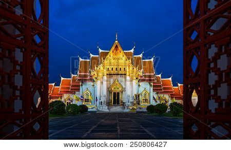 Benchamabophit Temple Or Marble Temple Is A Buddhist Temple In Bangkok, Thailand.