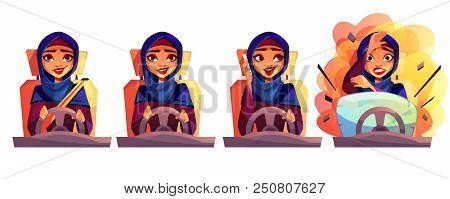Arab Woman Driving Car Vector Illustration Of Modern Rich Girl In Saudi Arabia Hijab With Not Fasten
