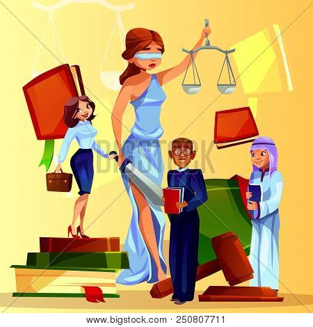 Court And Legislation Vector Illustration Of Cartoon Law People And Symbols. Themis Lady With Justic