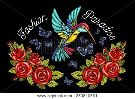 Hummingbirds Butterflies Crown Roses Embroidery Patch Fashion Paradise. Humming Bird Floral Leaf Win