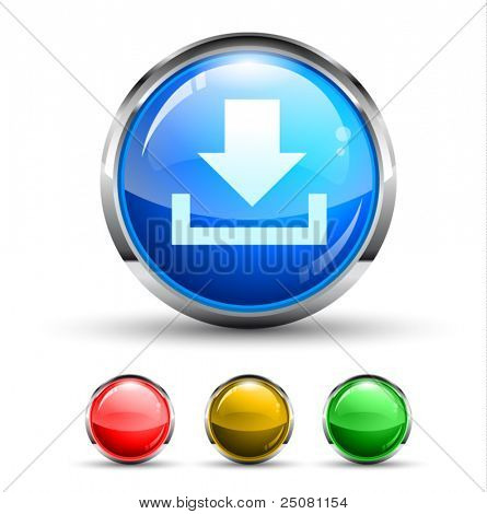 Download Cristal Glossy Button with light reflection and Chromed ring. 4 Colours included.