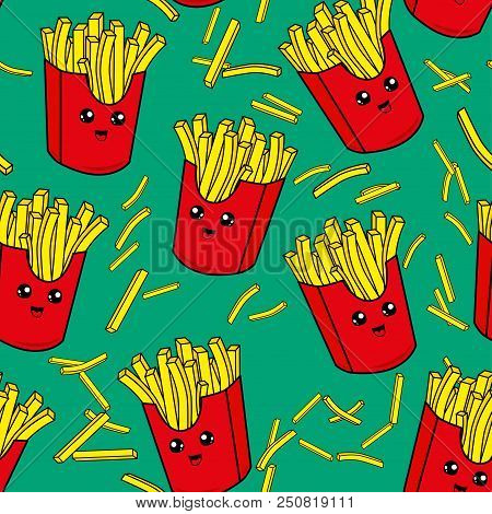 Cute Kids French Fries Pattern For Girls And Boys. Colorful French Fries On The Abstract Grunge Back