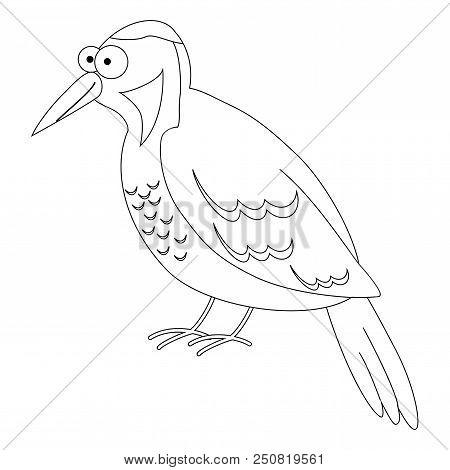 Cute Cartoon Woodpecker. Vector Illustration. Smiling Woodpecker