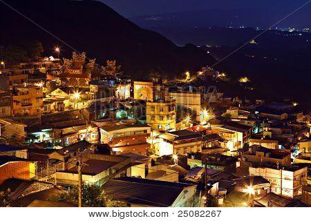 jiu fen village at night poster