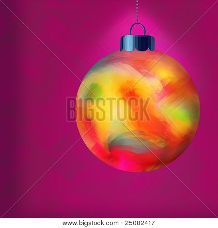 Single Multi Colored Christmas Ornament With Purple Textured Wallpaper
