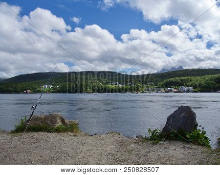 Famous Saltstraumen Bridge Over The Fjords Near Bodo, Norway, Europe. A Popular Fishing Place.