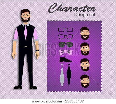 People Handsome Character Business Set. Front, View Animated Character. Businessman Character Creati