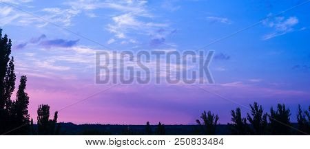 Landscape With Dramatic Light - Beautiful Golden Sunset With Saturated Sky And Clouds, Peaceful Natu