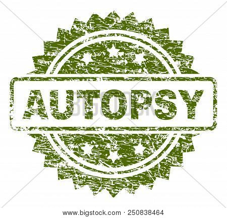 Autopsy Stamp Seal Watermark With Rubber Print Style. Green Vector Rubber Print Of Autopsy Title Wit