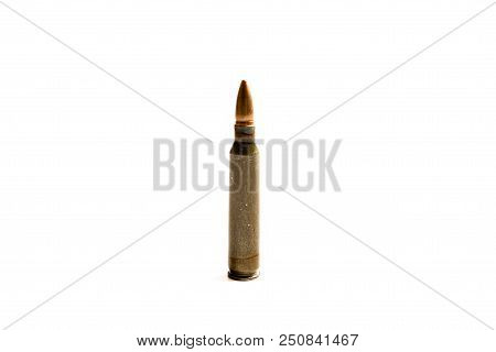 .223 Round Standing Straight Up Isolated Against A White Background.