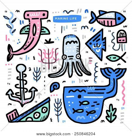 Undersea World Theme Concept. Octopus, Moray, Whale, Sunken Ship And Other Marine Elements. Vector N