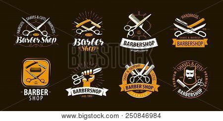 Barbershop, Set Of Labels Or Emblems. Vector Illustration