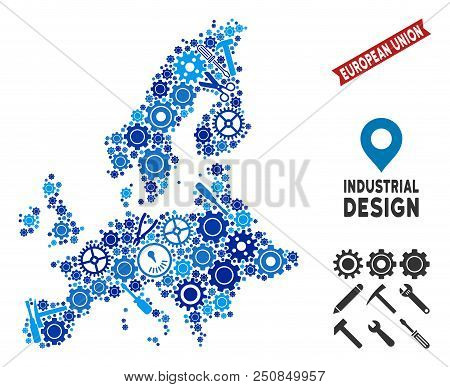 Service European Union Map Composition Of Cogs, Wrenches, Hammers And Other Hardware. Abstract Terri