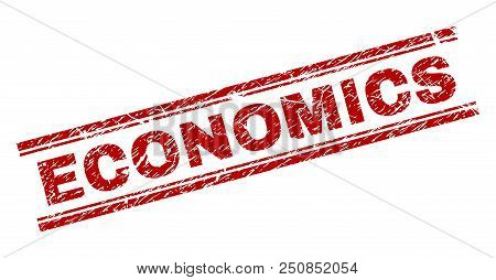 Economics Seal Print With Corroded Texture. Red Vector Rubber Print Of Economics Caption With Dirty