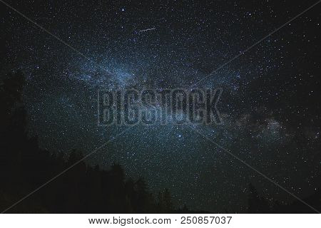A Shooting Star Passes Above The Milky Way Over A Remote Forest. New Moon Sky On A Summer Night.