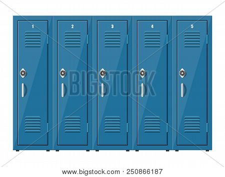 Blue Metal Cabinets. Lockers In School Or Gym With Silver Handles And Locks. Safe Box With Doors, Cu