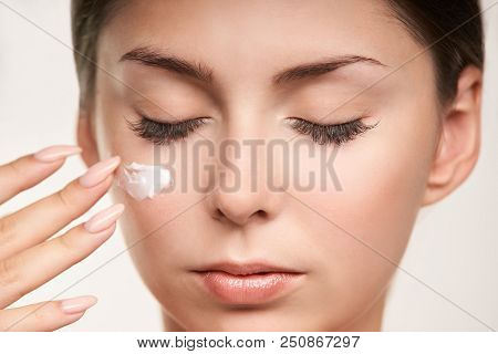 poster of Cosmetologist beauty skin. Facelift spa cosmetology treatment. Model body surgery.