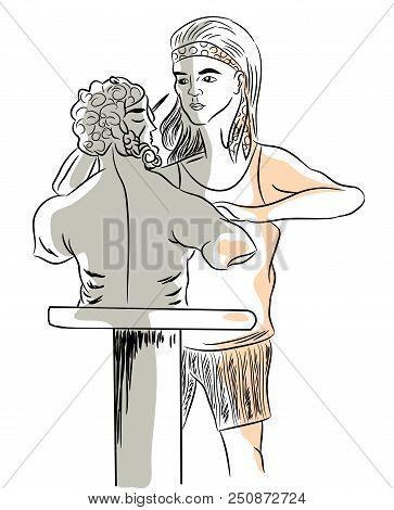 Female Sculptor.  Woman Creating Sculture. Woman Artist  Creating An Ancient Sculpture.