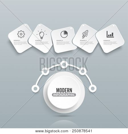 Modern Infographic Template With 3d Paper Label, Integrated Circles. Business Concept With 5 Options