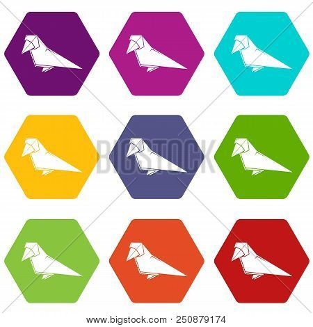 Origami Bird Icons 9 Set Coloful Isolated On White For Web