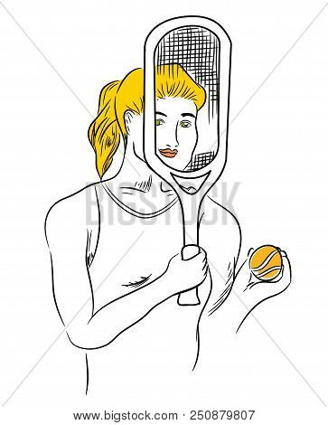 Female Tennis Player.  Beautiful Woman Tennis Player Holding Tennis Racket And Tennis Ball And Smili