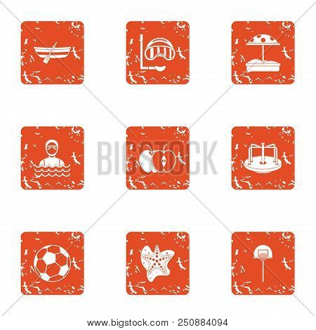 Amateur Sport Icons Set. Grunge Set Of 9 Amateur Sport Vector Icons For Web Isolated On White Backgr