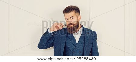 Handsome Stylish Bearded Man. Men's Beauty, Fashion. Male Beard And Mustache. Sexy Male, Macho, Long