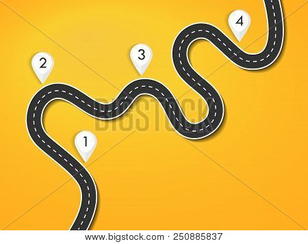Road Way Location Infographic Template. Winding Road On A Colorful Background. Road For The Journey.