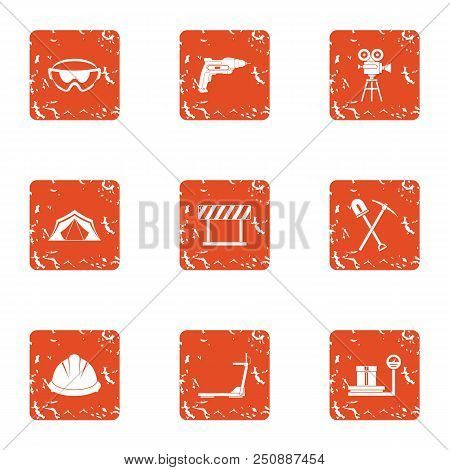 Land Development Icons Set. Grunge Set Of 9 Land Development Vector Icons For Web Isolated On White