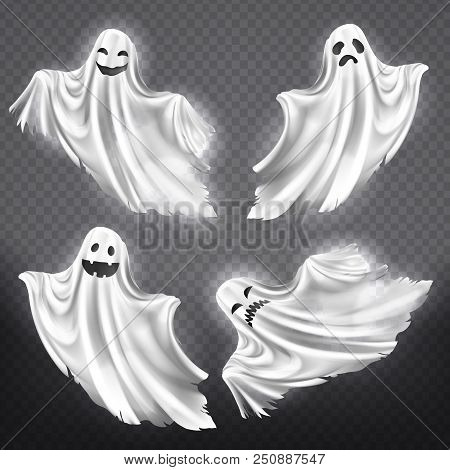 Vector Set Of White Ghosts With Various Facial Expressions, Phantom Silhouettes Isolated On Transpar