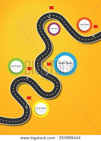 Road Trip And Journey Route. Business And Journey Infographic Design Template With Flags And Place F