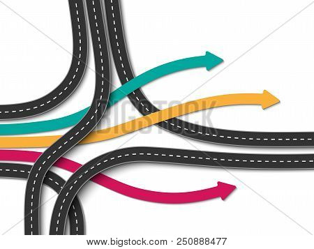 Road Trip And Journey Route. Business And Journey Infographic. Stylish Serpentine In The Form Of Arr