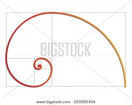 The Fibonacci Spiral Symbol. Geometric Vector Illustration. Eps 10