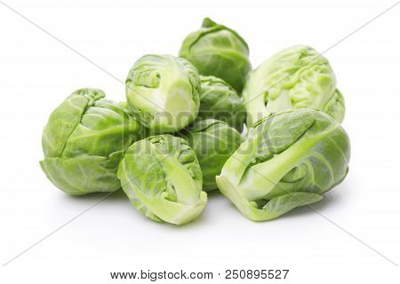 Heap Of Brussels Sprouts Isolated On White Background