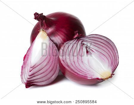 Cut Purple Onion Piece With Shell Isolated On White Background