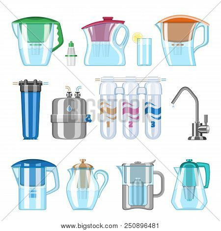Water filter vector filtering clean drink and filtered or purified liquid illustration set of mineral filtration or purification to clear aqua isolated on white background. poster