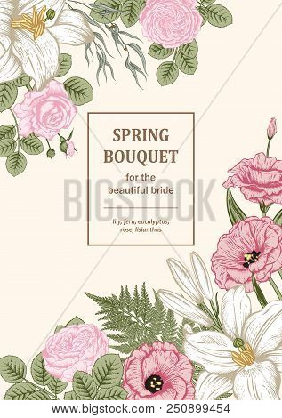 Bouquet Of Flowers. Floral Frame. Vector Illustration.
