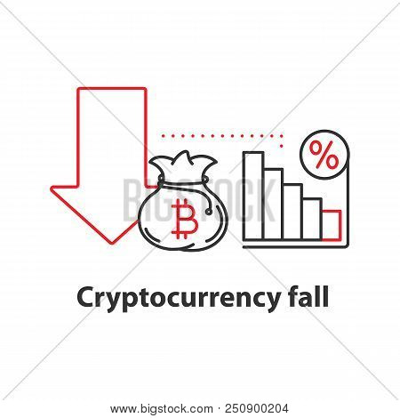 Cryptocurrency fall concept icon. Profit decline idea thin line illustration. Bitcoin failure. Vector isolated outline drawing poster
