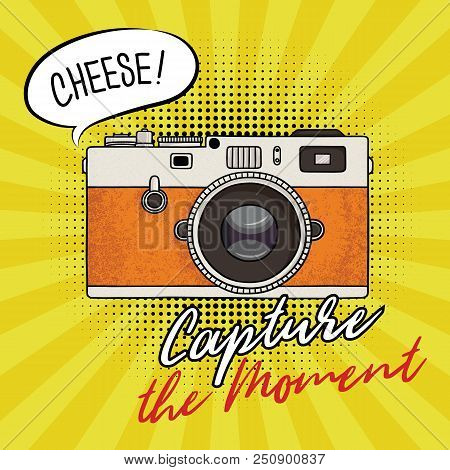 Vector Illustration Of A Retro Photo Camera In A Pop Art Style. Vintage Photo Camera Icon. Capture T
