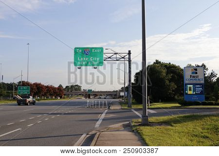 Tallahassee, Fl, Usa - July 14, 2018: Street Sign To Lake City Highway 10 East Entrance In The Early