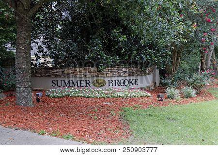 Tallahassee, Fl, Usa - July 14, 2018: Neighborhood Sign Of Summer Brooke Community In Northeast Tall